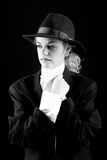 Beautiful blonde girl in suit and hat. Portrait of blonde girl in suit and hat Royalty Free Stock Image