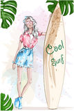 Beautiful blonde girl with surfboard. Pretty sport girl. Summer look. Summer rest.  Stock Image
