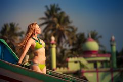 Beautiful blonde girl in swimming suit Royalty Free Stock Photo
