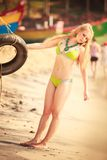 Beautiful blonde girl in swimming suit Stock Photography