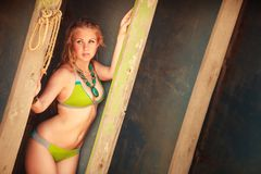 Beautiful blonde girl in swimming suit Royalty Free Stock Photography