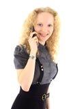 Beautiful blonde girl talking Stock Photos