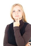 Beautiful blonde girl thinks Stock Image