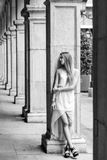 Beautiful blonde girl in urban background Stock Images