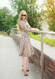 Beautiful blonde girl wearing a leopard dress and sunglasses Stock Image