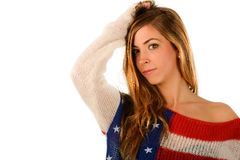 Beautiful blonde girl wearing a sweater with the flag of United Stock Image