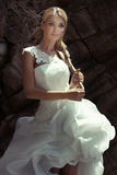 Beautiful blonde girl in wedding dress. Royalty Free Stock Photo