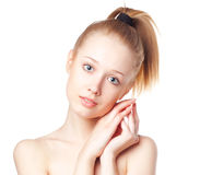 Beautiful blonde girl on a white background Stock Photography