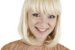 Beautiful blonde girl on white background Royalty Free Stock Images