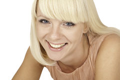 Beautiful blonde girl on white background Stock Photo