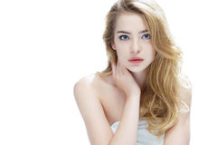 Beautiful blonde girl on white background. stock photos