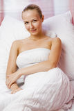 Beautiful blonde girl in white nightgown Royalty Free Stock Photo