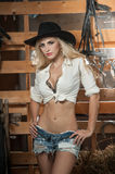 Beautiful Blonde Girl With Country Look, Indoors Shot In Stable, Rustic Style. Attractive Woman With Black Cowboy Hat, Denim Short Royalty Free Stock Photography