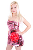 Beautiful blonde girl wrapped like a present Royalty Free Stock Photos