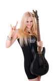 Beautiful blonde with a guitar Royalty Free Stock Photography