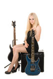 Beautiful blonde with a guitar Stock Photography