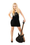 Beautiful blonde with a guitar Royalty Free Stock Images