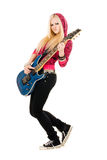 Beautiful blonde with a guitar Stock Images