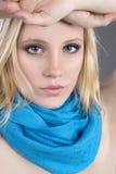 Beautiful blonde hair blue eyes Stock Photo