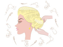Beautiful blonde hairstyle. In beauty salon Stock Illustration