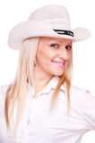 Beautiful blonde with hat Royalty Free Stock Images
