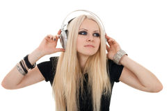 Beautiful blonde with a headphone Royalty Free Stock Image
