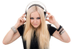Beautiful blonde with a headphone Royalty Free Stock Photography