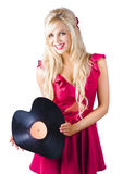 Beautiful Blonde with Heart-Shaped Record Stock Images