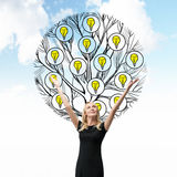 A beautiful blonde holds her hands up. A sketch of a tree with light bulbs is drawn behind the person. Cloudy sky background. Ligh Royalty Free Stock Photos