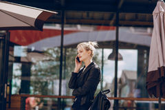 Free Beautiful Blonde In A Cafe Stock Images - 96599934