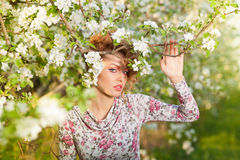 Beautiful Blonde In A Spring Garden Stock Image