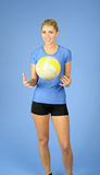 Beautiful blonde indoor volleyball player female Royalty Free Stock Photography