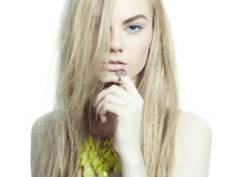 Beautiful blonde with jewelry Royalty Free Stock Image