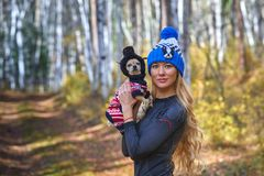 The beautiful blonde in a knitted cap walks with the dog in the autumn wood Stock Photography