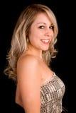Beautiful Blonde Lady in a Beige Dress Stock Photo