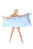 Beautiful blonde lady in a blue towel Royalty Free Stock Photo