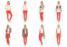 Beautiful blonde lady in casual clothes concept Stock Images