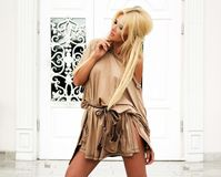 Beautiful blonde lady in fashionable dress. Royalty Free Stock Image