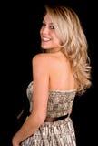 Beautiful Blonde Lady Looking Back Stock Image