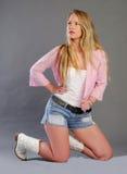Beautiful blonde lady in studio Stock Photo