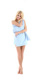 Beautiful blonde lady wrapped in a blue towel Royalty Free Stock Photo