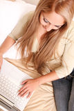 Beautiful blonde with laptop Stock Photography