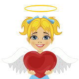 Beautiful blonde little girl angel holding red heart. Over white background Stock Image