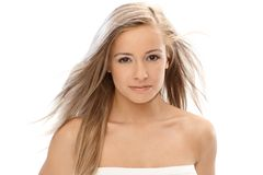 Beautiful blonde with long hair Royalty Free Stock Photos