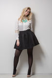 Beautiful blonde with long hair in a skirt. thick. The beautiful blonde with long hair. thick Stock Photo