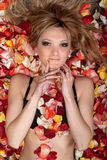 Beautiful blonde lying in rose petals Royalty Free Stock Image