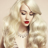 Beautiful blonde with magnificent hair Stock Photography