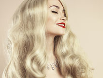Beautiful blonde with magnificent hair Royalty Free Stock Photos