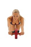 Beautiful blonde is making gym exercises Royalty Free Stock Photo