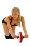 Beautiful blonde is making gym exercises Stock Image